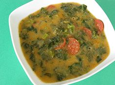 "A potato and kale soup, flavoured with chorizo. Caldo verde (Portuguese for ""green broth"") is a very popular soup in Portugal, each household having its own version. Portuguese Kale Soup, Portuguese Recipes, Chorizo Sausage, Gluten Free Chicken, Creative Food, Portugal, Cheeseburger Chowder, Good Food, Chicken"