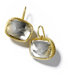 The PERFECT all-the-time earring. Cocktail earring in white topaz/22K gold -- my best seller.