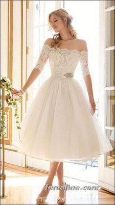 111 elegant tea length wedding dresses vintage (65)