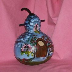 Hand Painted Blue Cottage Bird House Gourd by HouseOfGourds, $27.00