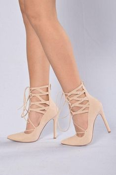 01c9615aee Available in Black and Nude Pointed Toe Lace Up Faux Suede Zipper Closure 4  inch heel