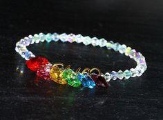 Rainbow Swarovski Heart Bracelet by WhispySnowAngel on Etsy, $20.00