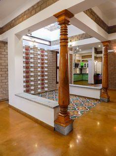 wooden home decor Wooden columns, Brick wall, Athangudi Tiles In Courtyard Flooring Temple Design For Home, Indian Home Design, Indian Home Interior, Kerala House Design, Indian Home Decor, Village House Design, Bungalow House Design, House Front Design, Modern House Design