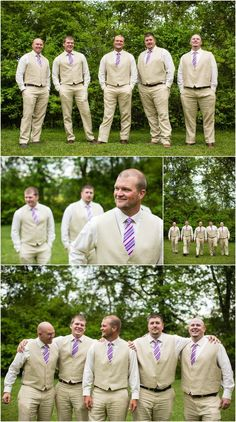 Groomsmen in vests with linen suits. Perfect for the summer! Click to view more photos from this wedding!