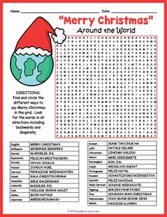 """Merry Christmas"" Around the World Word Search FUN by Puzzles to Print around the world word search ""Merry Christmas"" Around the World Word Search FUN"