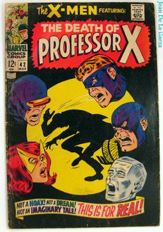 The X-Men #42 Changeling The Death of Professor X Marvel Comics (1968) FREE Shipping -- Artist : John Buscema -- Condition : Significant wear, minor soiling/staining, tiny pieces missing, small tears, cream pages, blunted corners, and moderate to significant creases. $17.00
