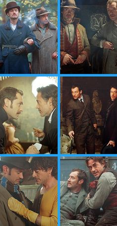 "Favorite Holmes & Watson scenes, ""Sherlock Holmes"" (2009) and ""Sherlock Holmes: A Game of Shadows"" (2011) (Robert Downey Jr. and Jude Law)."