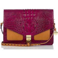 Brahmin Brahmin Nico Color Block Shoulder/Clutch (4.220 ARS) ❤ liked on Polyvore featuring bags, handbags, clutches, purses, long purses, oversized purse, long strap purse, purple purse and flap bag