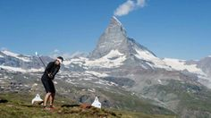 Matterhorn Eagle Cup:  This tournament doesn't take place on a normal golf course, but in the Alpine landscape, in the midst of natural surroundings, between Rotenboden and Riffelberg in the Gornergrat area, at between 2800 and 2500 metres above sea level. The 9-hole course fits perfectly into the Alpine landscape. The Matterhorn is always in view. Zermatt, Sea Level, Mount Everest, Golf Courses, Eagle, Events, Mountains, Landscape, Natural