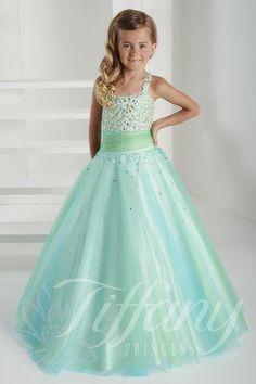 2015 Enchanting Light Blue Flower Girl Dress Spaghetti straps Party Frocks for Girls Kids Pageant Dresses Vestido Florista