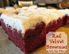 Red Velvet Brownies This is the Ultimate Brownie ~ Outrageous RED VELVET Brownies. Rich. Sinful. Decadent. Awesome! Great for Christmas. A MUST for Valentine! or Scary goodness for Halloween. #brownies  #callmepmc