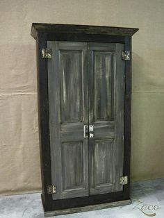 Industrial Reclaimed Wood Storage Armoire in Graphite Gray on Etsy, $895.00