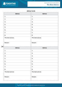 Giving Advice ESL Games Activities Worksheets English Speaking Game, Speaking Games, Help Teaching, Teaching Resources, Activity Games, Activities, English Grammar Worksheets, Esl Lesson Plans, Esl Lessons