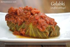 Golabki: Polish Stuffed Cabbage Recipe - with or without rice from www.domesticsoul.com  @Heather Creswell Cammarata  and @Sarah Chintomby Belle  the next time I'm in town I'm making these for you