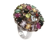 RING, silver,  multi with different gems, size. 18,5 mm