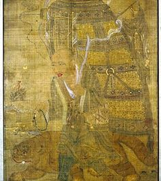 Province du Gansu, Dunhuang, Grotte Mogao 9th century  Ink, gold and colors on silk  79 x 52 cm  Pelliot Mission  EO 1138