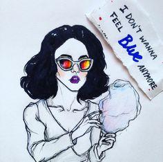 Marina and The Diamonds Marina Diamandis Blue artwork portrait by @/heavymetalheartboy (Instagram)