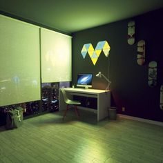 The Nanoleaf Light Panels Smarter Kit is a system of modular, interactive lighting panels, that works with both iOS and Android devices. Smart Kit, Smart Home, Nanoleaf Designs, Nanoleaf Aurora, Nanoleaf Lights, Interactive Walls, Apple Home, Led Panel Light, Color Changing Led