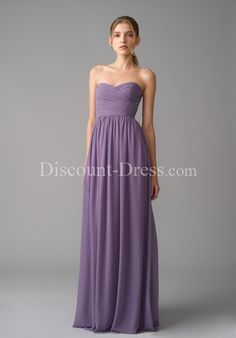 Sheath Sweetheart Floor Length Chiffon Bridemaid Dress style 26858