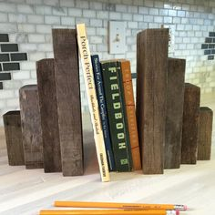 Two matching heavy, rustic wooden bookends made from reclaimed wood (1007-P)