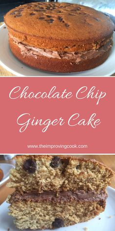 The Improving Cook- Chocolate Chip Ginger Cake. A ginger sandwich cake with dark chocolate chips and chocolate buttercream.