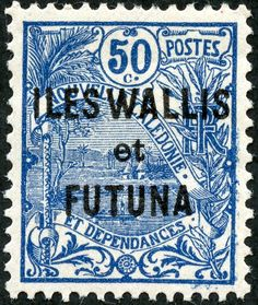 "Wallis and Futuna Islands 1922 Scott 21 50c dark blue ""Landscape"""
