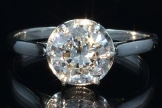Mid-Century Platinum 1.53ct Old European Cut Diamond Solitaire Engagement Ring - Dianne's Estate Jewellery
