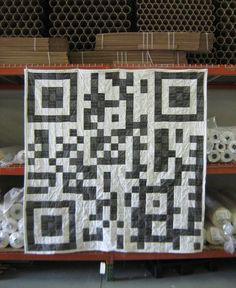 World's geekiest quilt? The Spoonflower QR Code quilt.