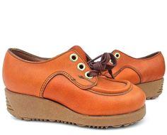 vintage 70s shoes kids | Vintage Platform Shoes Wedge Heel Rust Leather 70s Child Boy Girl on ...