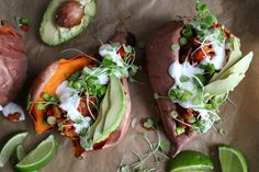 Loaded Sweet Potatoes by crunchyradish: Sweet potatoes are versatile, vibrant in color, and pack a serious nutritional punch.Their  flexibility is highlighted in this dish,serving asan edible bowl for spicy and flavorful beans.  #Sweet_Potatoes #Healthy