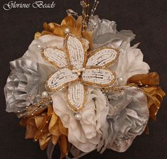 18pcs BEADED LILY Bridal Bouquet Wedding Flower Rose Package SILVER & GOLD | eBay