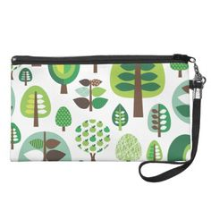 Cute retro tree leaf nature pattern wristlet  Click on photo to purchase. Check out all current coupon offers and save! http://www.zazzle.com/coupons?rf=238785193994622463&tc=pin