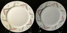 "Narumi Serenade Salad Plates 7 1/2"" Japan Pink Gray Leaves Set of 2 | DR Vintage Dinnerware Replacements Pink Grey, Gray, Vintage Dinnerware, Salad Plates, Dinner Plates, Leaves, Japan, Tableware, Dinnerware"