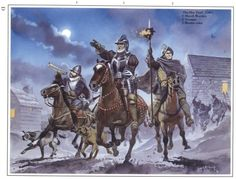 Border Reivers riding Hot Trod with blazing spears and horns blaring