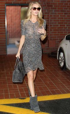 Rosie Huntington-Whiteley in a semi-sheer Isabel Marant for H&M dress in Beverly Hills