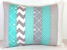 Decorative Pillow Cover, Throw Cushion Cover, Nursery Pillow, Lumbar Pillow Cover, 12 x 16 Inches, Teal Blue, Tiffany Blue, Gray Chevron