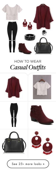 """""""Casual and chic"""" by secret-girl02 on Polyvore featuring Topshop, Unisa, Michael Kors, WithChic, Kenneth Jay Lane and Alexis Bittar"""