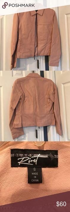 Black Rivet Leather Jacket Never worn Black Rivet Ladies Leather Jacket. Soft dusty pink leather. Eye Catcher!! Black Rivet Jackets & Coats