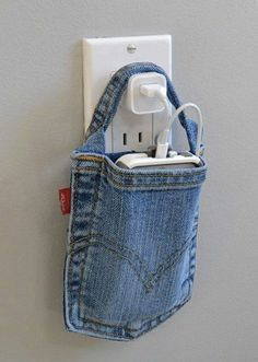 Make a cell phone charging holder using a jeans pocket
