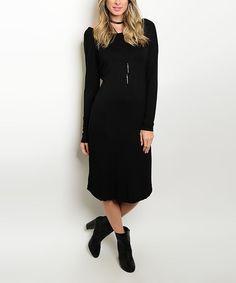 Look what I found on #zulily! Black V-Back Long-Sleeve Midi Dress #zulilyfinds