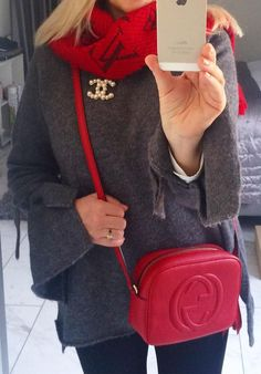#winter #fashion / Red Scarf / Grey Poncho / Red Leather Shoulder Bag