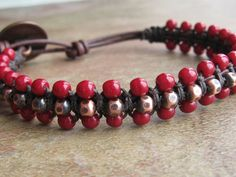 Rustic Copper and Red Czech Glass Leather Bracelet