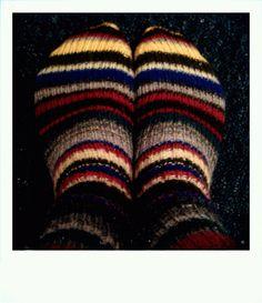 Stripey socks knitted by myself