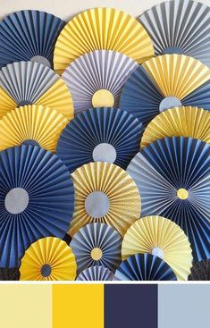 Pale Yellow Color Palettes for your Wedding Day A nautical wedding palette of varying shades of yellow and blue.A nautical wedding palette of varying shades of yellow and blue. Gold Color Scheme, Blue Colour Palette, Colour Schemes, Color Combos, Navy Colour, Yellow Color Palettes, Mellow Yellow, Grey Yellow, Navy Blue