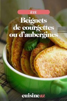 Une recettede beignets de courgettes ou d'aubergines simple à préparer #recette#cuisine#beignet#legume #courgette #aubergine #ete Sweet Potato, Potatoes, Meat, Chicken, Vegetables, Desserts, Recipes, Food, Zucchini Fritters