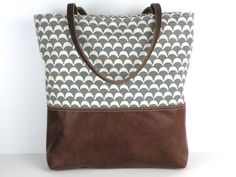 Urban Tote in Grey and White Canvas and by RedStaggerwing on Etsy, $110.00