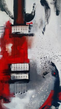 Guitar Painting Abstract Painting Red White por heatherdaypaintings