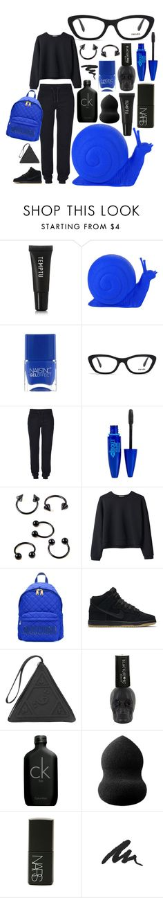 """""""Klein Snail!"""" by carolina-c ❤ liked on Polyvore featuring Temptu, Cracking Art, Nails Inc., Prada, ONLY, Maybelline, Organic by John Patrick, Moschino, NIKE and UNIF"""
