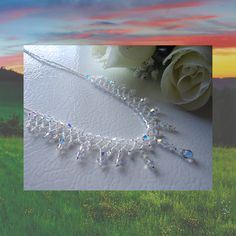 Crystal Necklace, netting stitch