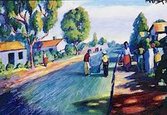 Township scene, 1975 by George Pemba. South Africa Art, Social Realism, South African Artists, Port Elizabeth, Scene, Landscape, Street, Painting, Southern